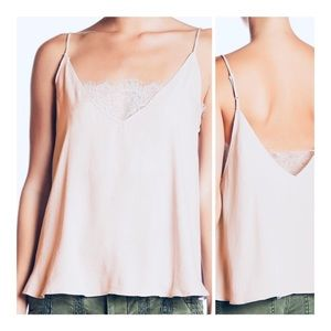 FREE PEOPLE Deep V-Neck Lace Bandeau Cami Vanilla